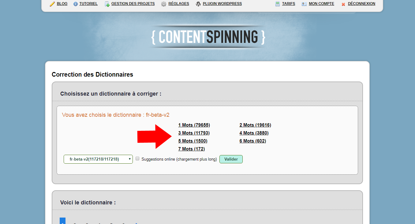 Choix Dictionnaire : Content Spinning