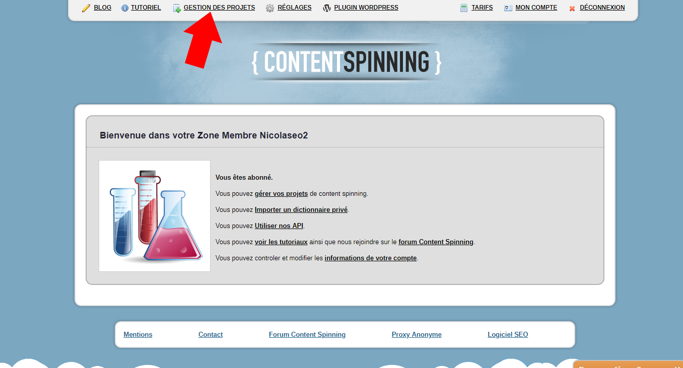 Gestion projet Content Spinning
